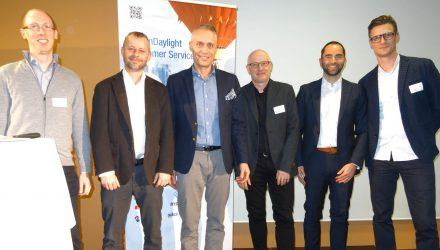 Die Referenten des Summit Jahrgangs 2018 von links: Roger Leimer (Ferrum), Michael Jeger (Post), Tom Buser (YukonDaylight), Adrian Wick (Hamilton Medical), Tom Seeger, David Spray (Globus)