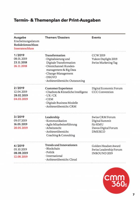 Themen und Terminplan cmm360 2019